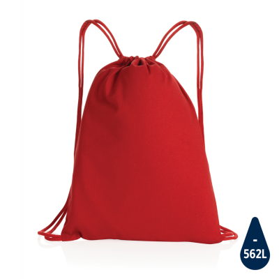 IMPACT AWARE™ RECYCLED COTTON DRAWSTRING BACKPACK RUCKSACK 145G in Red.