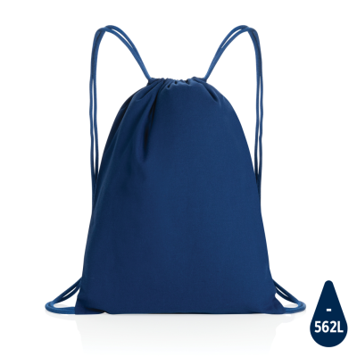 IMPACT AWARE™ RECYCLED COTTON DRAWSTRING BACKPACK RUCKSACK 145G in Blue.