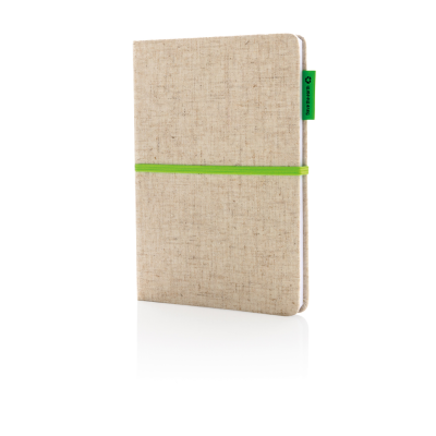 A5 ECO JUTE COTTON NOTE BOOK in Green.