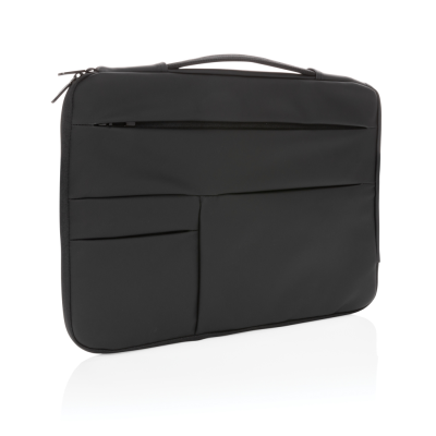 SMOOTH PU 15,6 INCH LAPTOP SLEEVE with Handle in Black.