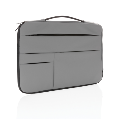 SMOOTH PU 15,6 INCH LAPTOP SLEEVE with Handle in Grey.