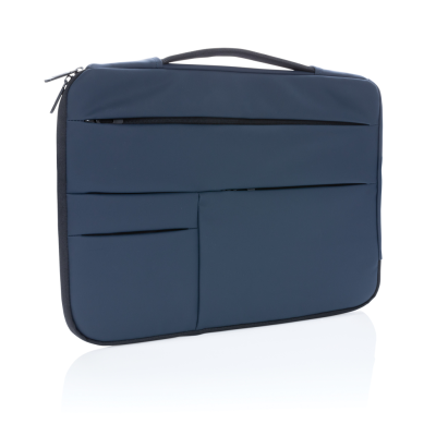 SMOOTH PU 15,6 INCH LAPTOP SLEEVE with Handle in Navy.