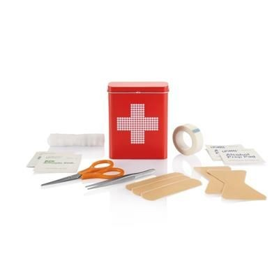 FIRST AID KIT TIN BOX in Red.