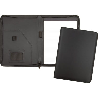 RECYCLED LANGDON A4 ZIPPED CONFERENCE FOLDER RPET in Black.