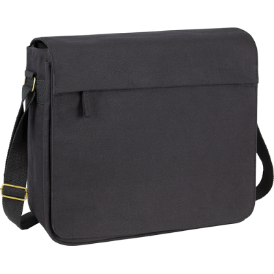 ECO-NATURAL HARBLEDOWN COTTON CANVAS LAPTOP MESSENGER BAG in Black.