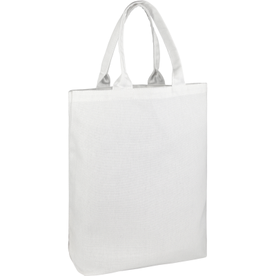 BUCKLAND10OZ COTTON CANVAS SHOPPER TOTE BAG in White.