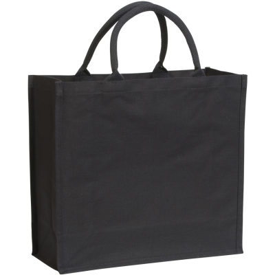 BROOMFIELD 7OZ LAMINATED COTTON CANVAS TOTE SHOPPER BAG in Black.
