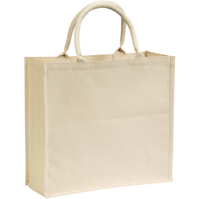 BROOMFIELD7OZ LAMINATED COTTON CANVAS TOTE SHOPPER BAG in Natural.