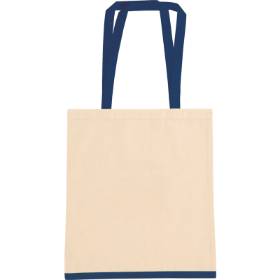 EASTWELL COTTON SHOPPER TOTE BAG in Natural & Blue.