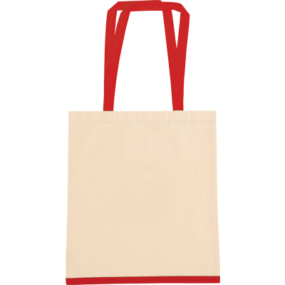 EASTWELL COTTON SHOPPER TOTE BAG in Natural & Red.