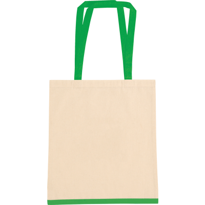EASTWELL COTTON SHOPPER TOTE BAG in Natural & Green 4.