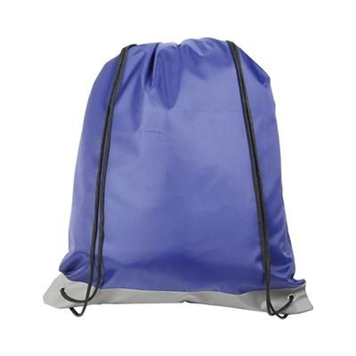 REFLECTIVE STRIPE DRAWSTRING BAG BLUE.