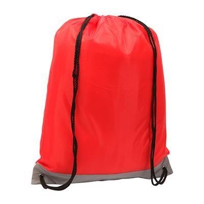 REFLECTIVE STRIPE DRAWSTRING BAG RED.