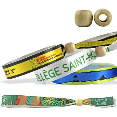 Picture of SATIN WRISTBAND with Wood Reusable Closure Montreal