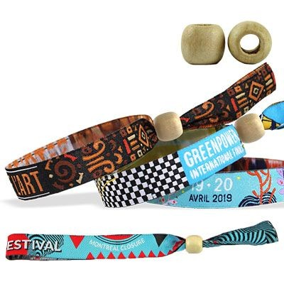 Picture of WOVEN WRISTBAND with Wood Reusable Closure Montreal