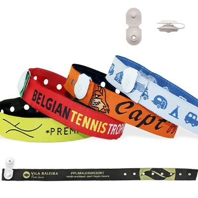 Picture of WOVEN WRISTBAND with Vinyl Button Clip Closure St Tropez