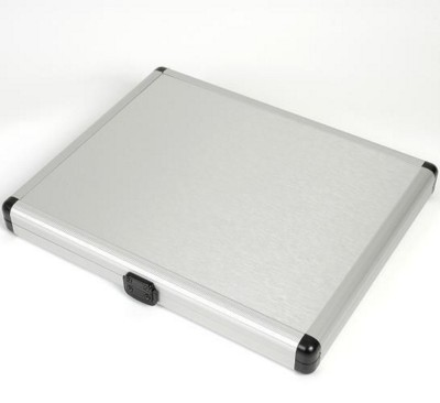 Picture of SLIM LINE ALUMINIUM SILVER METAL DOCUMENT CASE in Silver