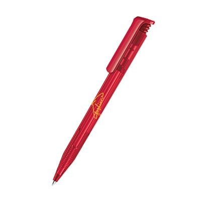 Picture of SENATOR SUPER HIT CLEAR TRANSPARENT PLASTIC BALL PEN in Cherry Red
