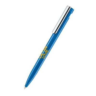 Picture of SENATOR LIBERTY POLISHED PLASTIC BALL PEN with Metal Clip Tip in Full Blue