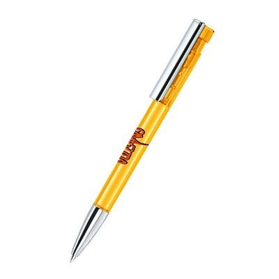Picture of SENATOR LIBERTY CLEAR TRANSPARENT PLASTIC BALL PEN with Metal Clip & Metallised Tip in Honey Yellow