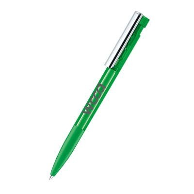 Picture of SENATOR LIBERTY CLEAR TRANSPARENT PLASTIC BALL PEN with Soft Grip & Metal Clip in Vivid Green