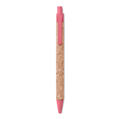 Picture of PUSH BUTTON BALL PEN with Cork Barrel & Eco-friendly Wheat Straw 50% & Abs Plastic 50% Fittings