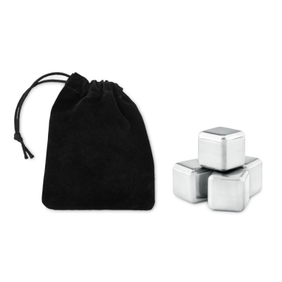 Picture of SET OF 4 REUSABLE STAINLESS STEEL METAL ICE CUBES in Velvet Pouch