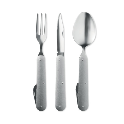 Picture of CAMPING CUTLERY SET in Stainless Steel Metal with Aluminium Metal Handle