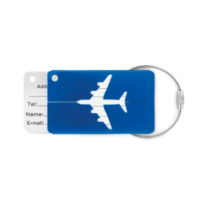 Picture of ALUMINIUM METAL AEROPLANE LUGGAGE TAG with Name & Address Label