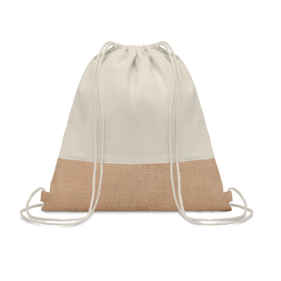 Picture of TWILL COTTON DRAWSTRING BAG with Jute Detailing
