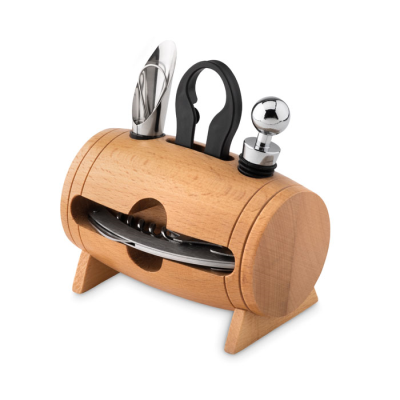 Picture of WOOD STAND with 4 Wine Accessories