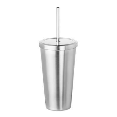 Picture of DOUBLE WALL STAINLESS STEEL METAL VACUUM THERMAL INSULATED TUMBLER with Straw