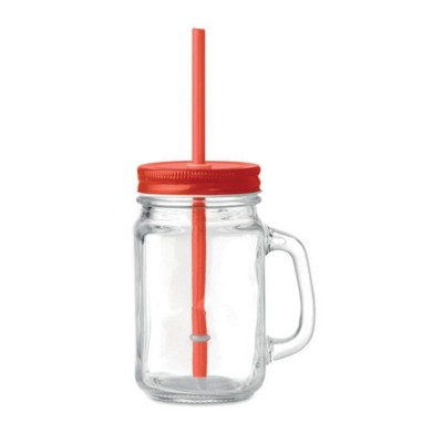 Picture of GLASS MASON JAR with Straw