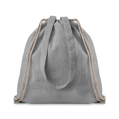 Picture of 2 TONE RECYCLED COTTON AND RECYCLED POLYESTER SHOPPER TOTE BAG with Drawstring & Long Handles