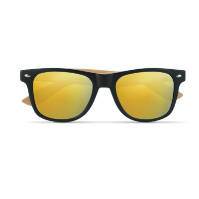 Picture of VINTAGE SUNGLASSES with Bamboo Arms & PC Frame with Colour Mirrored Lenses