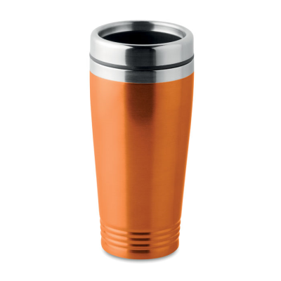 Picture of DOUBLE WALL STAINLESS STEEL METAL TRAVEL CUP with Black Pp Lid