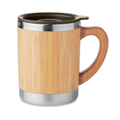 Picture of DOUBLE WALL STAINLESS STEEL METAL TUMBLER with Bamboo Case & Moveable Drink Hole