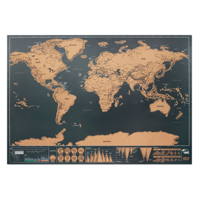 Picture of SCRATCH MAP WORLD in Silver Chrome Paper