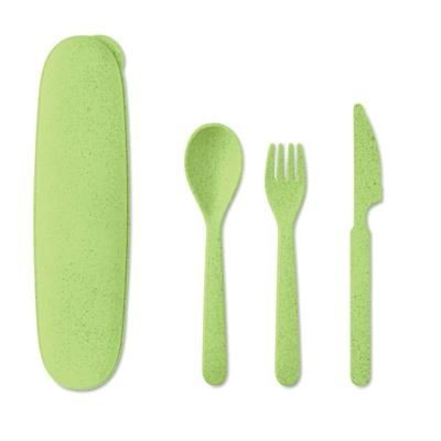 Picture of RE-USABLE CUTLERY SET MADE OF 50% WHEAT STRAW AND 50% PP