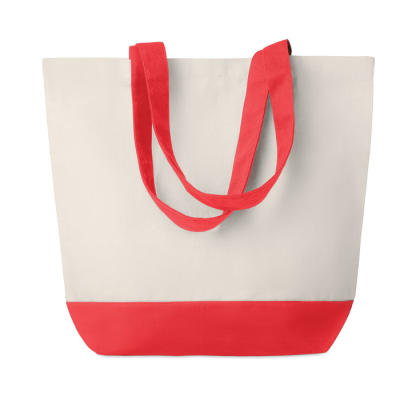 Picture of CANVAS 170GR-M² SHOPPING BEACH BAG with Colour Bottom Detail & Matching Handles Inside Pocket