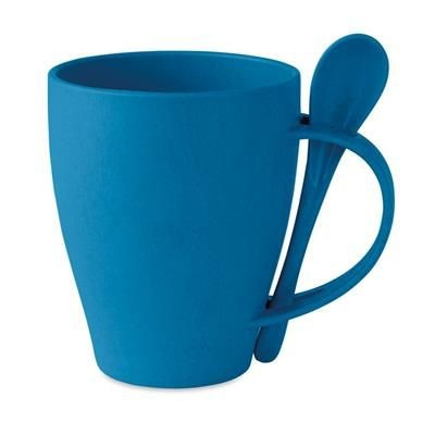 Picture of RE-USABLE MUG with Spoon in 50% Bamboo Fibre & 50% Pp