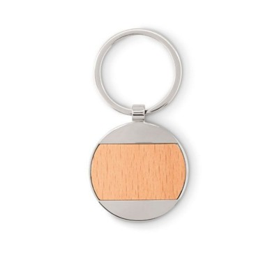Picture of ROUND SHAPE WOOD KEYRING with Zinc Alloy Parts