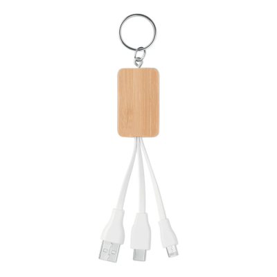 Picture of BAMBOO COVER KEYRING with Charger Cable with Usb-a to Micro-b Two in One Pin & Type C