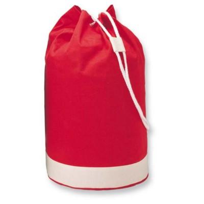 Picture of BICOLOUR COTTON SHOPPER TOTE BAG in Red with White Stripe