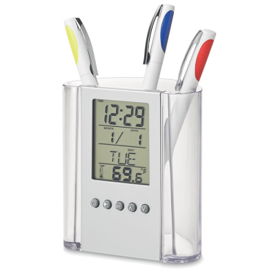 Picture of PEN POT HOLDER & CLOCK in Translucent Clear Acrylic