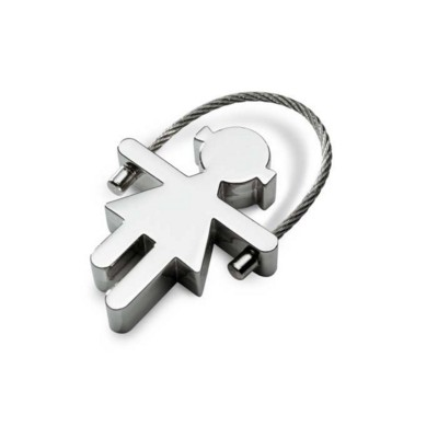 Picture of GIRL METAL KEYRING in Shiny Silver