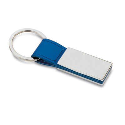 Picture of PU KEYRING with Square Metal Plate in Blue
