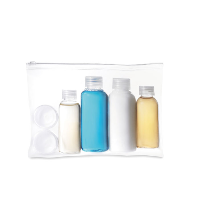 Picture of TRAVEL COSMETICS POUCH with Bottles in Translucent Clear