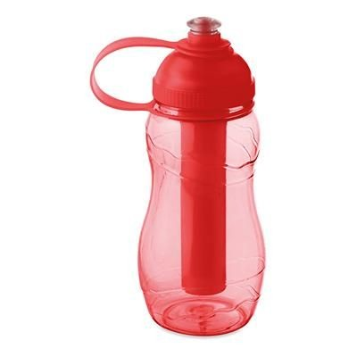 Picture of DRINK BOTTLE 400ML with Freezing Tube in Clear Transparent Red