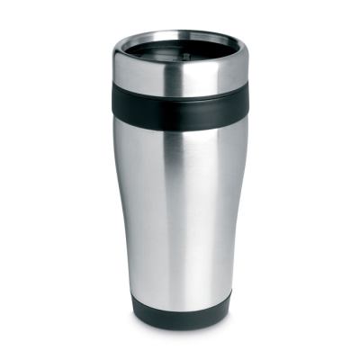 Picture of SILVER STAINLESS STEEL METAL TRAVEL MUG with Lid in Black